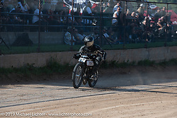 Freddie Bollwage on his Harley-Davidson boardtrack racer in the Spirit of Sturgis races at the fairgrounds during the Sturgis Black Hills Motorcycle Rally. Sturgis, SD, USA. Monday, August 5, 2019. Photography ©2019 Michael Lichter.