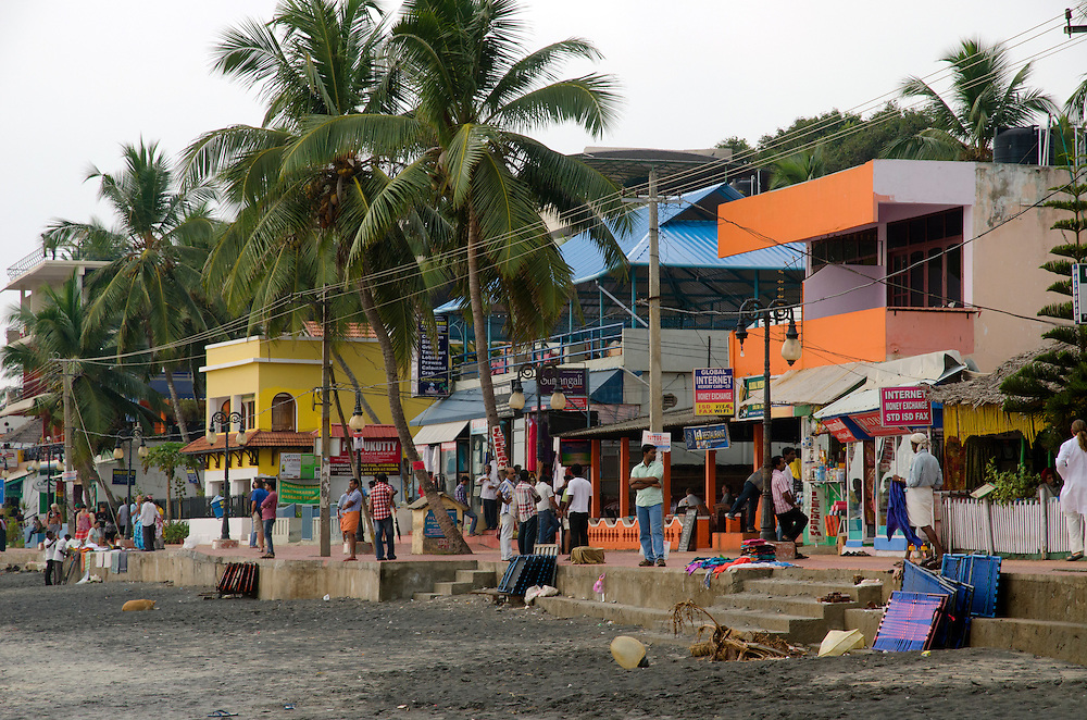 Busy street scene in Kovalam, Kerala, Indian Subcontinent