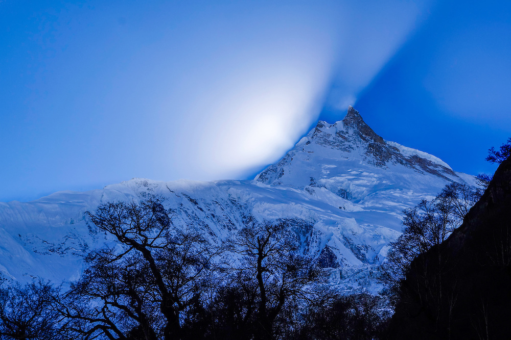 Manaslu at sunset.  At 8156 meters (26,759 feet) Manaslu is the eighth highest peak on the planet.