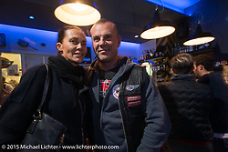Party at the Sidestand Cafe in the Harley-Davidson dealership in Pavia during EICMA, the largest international motorcycle exhibition in the world. Milan, Italy. November 19, 2015.  Photography ©2015 Michael Lichter.