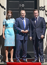 © Licensed to London News Pictures. 24/07/2012. Westminster, UK SMANTHA CAMERON. TONY BLAIR, DAVID CAMERON. The British Prime Minister David Cameron hosts a lunch today 24th July 2012 at Downing Street for HM The Queen and the Duke of Edinburgh with the Deputy Prime Minister and past Prime Ministers, Sir John Major, Tony Blair and Gordon Brown. Photo credit : Stephen Simpson/LNP