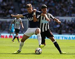 13 August 2017  : Premier League Football : Newcastle United v Tottenham Hotspur:  Ben Davies of Tottenham (left) and Ayoze Perez.<br /> Photo: Mark Leech