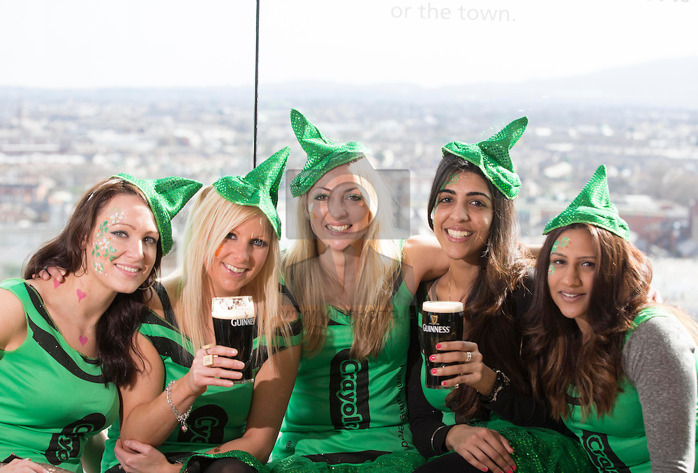 Repro Free: 15/03/2014 <br /> Penni Jeynes, Gemma Williams, Catherine Coles, Sharon Grewal and Anu Jalaf pictured at the Guinness Storehouse St. Patrick's Festival. The four day festival is showcasing some of Ireland's best music, food and rugby over the weekend including and the ultimate rugby hub with a live broadcast by Newstalk Off The Ball. Enjoy GUINNESS sensibly. Visit drinkaware.ie Picture Andres Poveda