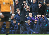 Football - 2019 / 2020 Premier League - Tottenham Hotspur vs. Wolverhampton Wanderers<br /> <br /> Jose Mourinho, Manager of Tottenham FC, celebrates as the Tottenham bench erupt after they take an early lead at The Tottenham Hotspur Stadium.<br /> <br /> COLORSPORT/DANIEL BEARHAM