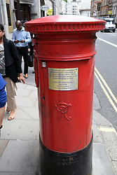Old pillar box commemorating the birth of Anthony Trollope who introduced pillar boxes to teh UK in 1852, Fleet Street London UK 2019