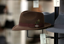 Hicks & Brown hats for sale in a shopping stall at Cheltenham racecourse