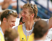 1999 World Rowing Championships St Catherines Canada. AUS M2-  centre, James Tomkin on the awards dock after winning the gold medal with partner Drew Quinn. [Mandatory Credit Peter Spurrier Intersport Images] 1999 FISA. World Rowing Championships, St Catherines, CANADA