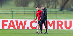 CARDIFF, WALES - Monday, October 5, 2020: Wales' Dylan Levitt (L) and manager Ryan Giggs during a training session at the Vale Resort ahead of the International Friendly match against England. (Pic by David Rawcliffe/Propaganda)