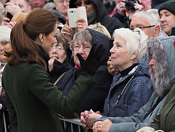 The Duke of Cambridge and Duchess of Cambridge meet the waiting crowds as they leave the famous Blackpool Tower. The Duke was presented with a paper crown and some classic seaside rock.<br /><br />6 March 2019.<br /><br />Please byline: Vantagenews.com