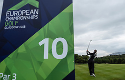 Gleneagles, Scotland, UK; 8 August, 2018.  Day one of golf competition at Gleneagles.. Men's and Women's Team Championships Round Robin Group Stage - 1st Round. Four Ball Match Play format. Gleneagles for the European Championships 2018. Georgia Hall of GB tees of at the 10th hole.