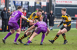 Newport's Joe Bartlett is tackled by Ebbw Vale's Dominic Franchi - Mandatory by-line: Craig Thomas/Replay images - 04/02/2018 - RUGBY - Rodney Parade - Newport, Wales - Newport v Ebbw Vale - Principality Premiership