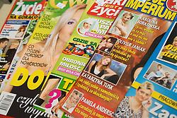 A selection of Polish language Magazine on sale in Polish food shop,