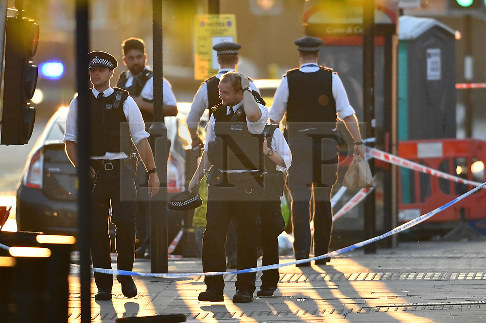© Licensed to London News Pictures. 19/06/2017. London, UK. The scene at Finsbury Park in north London where a van ploughed into a crowd outside Finsbury Park Mosque, as they finished taraweeh, Ramadan evening prayers. Two people are reported to be dead. Photo credit: Ben Cawthra/LNP