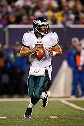 Philadelphia Eagles quarterback Donovan McNabb #5 in the pocket during the NFL game between the Philadelphia Eagles and the New York Giants on December 13th 2009. The Eagles won 45-38 at Giants Stadium in East Rutherford, New Jersey. (Photo By Brian Garfinkel)
