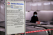 A positive message of thanks, to those helping us through the Coronavirus (Covid 19) nightmare, on London Underground.