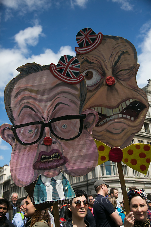 Anti-Brexit march and rally 2nd of July in London, United Kingdom. 48 percent of voters wanted to stay n the EU and now feel disenfranchised and cheated on and many want a second referendum. Angry art teachers with placards of Michael Gove and Nigel Farage.