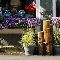 Home accessory store in Damariscotta, Maine - sidewalk floral and seaside decoration.