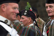 Members of the Atholl Highlanders, Europe's only private army, lining up before Pipefest Stirling, an event staged at Stirling Castle to coincide with the 700th anniversary of the Battle of Bannockburn. The event was attended by 1600 pipers, Highland dancers and other musicians and formed a procession through the city's streets. The Battle of Bannockburn took place in 1314 and resulted in the defeat of Edward II's English army by the Scots under Bruce.