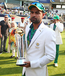 June 18, 2017 - London, United Kingdom - Ahmed Shahzad of Pakistan with Trophy.during the ICC Champions Trophy Final match between India and Pakistan at The Oval in London on June 18, 2017  (Credit Image: © Kieran Galvin/NurPhoto via ZUMA Press)
