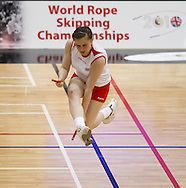 Loughborough, England - Saturday 31 July 2010: Rosina Jones of England leaps high during the World Rope Skipping Championships held at Loughborough University, England. The championships run over 7 days and comprise junior categories for 12-14 year olds in the World Youth Tournament, 15-17 year olds male and female championships, and any age open championships. In the team competitions, 6 events are judged, the Single Rope Speed, Double Dutch Speed Relay, Single Rope Pair Freestyle, Single Rope Team Freestyle, Double Dutch Single Freestyle and Double Dutch Pair Freestyle. For more information check www.rs2010.org. Picture by Andrew Tobin/Picture It Now.