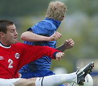 Fotball. Privatlandskamp U21. Sandefjord. 20.05.2002.<br /> Norge v Nederland 1-1.<br /> Thomas Holm, Norge og Herenveen.<br /> Foto: Morten Olsen, Digitalsport