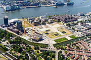 Nederland, Noord-Holland, Amsterdam-Noord, 29-06-2018; Buiksloterham,  Overhoeks, voormalig Shell Research-terrein. Huisvest nu onder andere filmmuseum EYE (EYE Film Instituut Nederland), de toren Overhoeks, de A'DAM Lookout toren, Tolhuistuin, Oeverpark. Diagonaal het Buiksloterkanaal, onder in beeld Van der Pekbuurt.<br /> Overhoeks, a new city district on the IJ bank in Amsterdam-North.<br /> <br /> luchtfoto (toeslag op standard tarieven);<br /> aerial photo (additional fee required);<br /> copyright foto/photo Siebe Swart