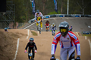Riders during practice at the 2014 UCI BMX Supercross World Cup in Santiago Del Estero, Argentina.