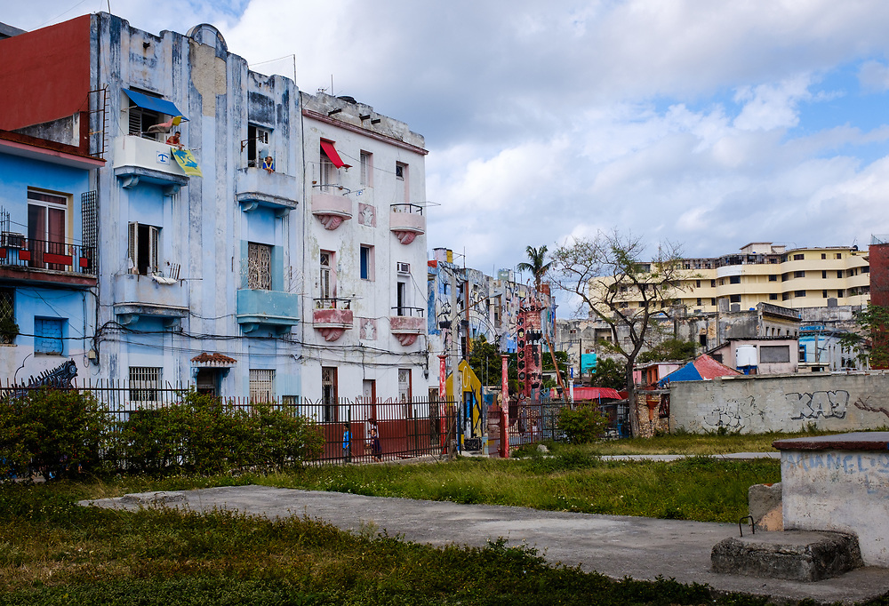 HAVANA, CUBA - CIRCA MARCH 2017: Buildings around the famous Callejón de Hamel in Centro Habana. A popular tourist attraction in Havana.