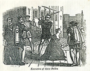Execution of Anne Bullen [Anne Boleyn] from the book History of England : with separate historical sketches of Scotland, Wales, and Ireland; from the invasion of Julius Cæsar until the accession of Queen Victoria to the British throne. By Russell, John, A. M., Published in Philadelphia by Hogan & Thompso in 1844