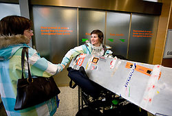 Slovenian biathlon athlete Andreja Mali at arrival to Airport Joze Pucnik from Vancouver after Winter Olympic games 2010, on February 26, 2010 in Brnik, Slovenia. (Photo by Vid Ponikvar / Sportida)