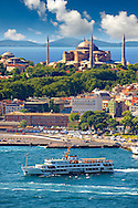 Sarayburnu or Seraglio Point with a ferry and the banks of the Golden Horn in the foreground, Istanbul Turkey. .<br /> <br /> If you prefer to buy from our ALAMY PHOTO LIBRARY  Collection visit : https://www.alamy.com/portfolio/paul-williams-funkystock/istanbul.html<br /> <br /> Visit our TURKEY PHOTO COLLECTIONS for more photos to download or buy as wall art prints https://funkystock.photoshelter.com/gallery-collection/3f-Pictures-of-Turkey-Turkey-Photos-Images-Fotos/C0000U.hJWkZxAbg