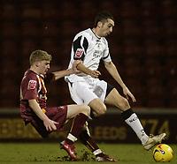Photo: Aidan Ellis.<br /> Bradford City v Swansea City. Coca Cola League 1. 13/01/2007.<br /> Bradford's Joe Colbeck challenges Swansea's Tom Williams