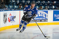 KELOWNA, CANADA - DECEMBER 30: Blake Bargar #16 of the Victoria Royals warms up with the puck against the Kelowna Rockets on December 30, 2016 at Prospera Place in Kelowna, British Columbia, Canada.  (Photo by Marissa Baecker/Shoot the Breeze)  *** Local Caption ***