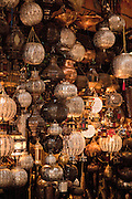 Decorative lanterns for sale at a shop in the medina of Marrakech, Morocco
