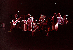 The Grateful Dead Performing Live in Concert at the Hartford Civic Center on 28 May 1977. Original film scan from Kodak CG negative stock, pushed 2 stops, processing by Berkey K&L Lab NYC. Photography by James R Anderson.