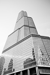 Chicago Trump Tower Black and White photo. Trump Tower is one of the most popular things to see in Chicago and also one of Chicago's tallest buildings.