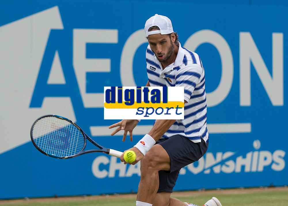 Tennis - 2017 Aegon Championships [Queen's Club Championship] - Day Four, Thursday <br /> <br /> Men's Singles: Round of 16 - Daniil MEDVEDEV (RUS) Vs Thanasi KOKKINAKIS (AUS)<br /> <br /> Feliciano Lopez (SPA) prepares to strike the ball with a back hand return at Queens Club<br /> <br /> COLORSPORT/DANIEL BEARHAM