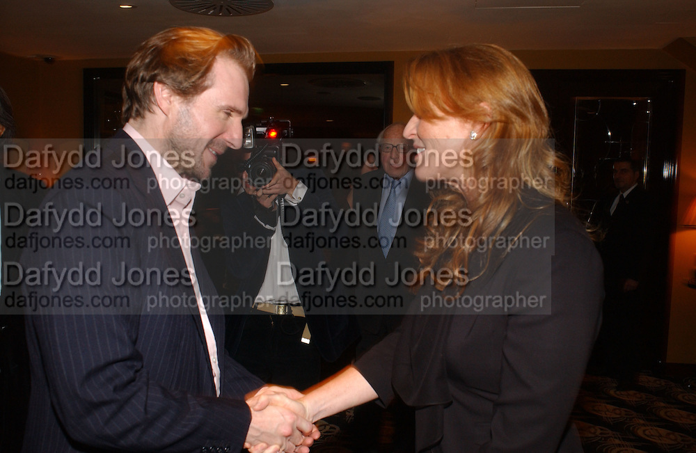 The Duchess of York and Ralph Fiennes. The after show party following the UK Premiere of 'The White Countess', at China Tang, Park Lane London. March 19  2006. London. ONE TIME USE ONLY - DO NOT ARCHIVE  © Copyright Photograph by Dafydd Jones 66 Stockwell Park Rd. London SW9 0DA Tel 020 7733 0108 www.dafjones.com