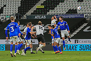 Curtis Davis of Derby County (33) heads the ball during the EFL Sky Bet Championship match between Derby County and Cardiff City at the Pride Park, Derby, England on 28 October 2020.