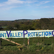 Pont Valley Protector camp ahead of the the day of protest against the mining company Banks outside Dipton in Pont Valley, County Durham, 4 May 2018. Locals have fought the open cast coal mine for thirty years and three times the local council rejected planning permissions but central government has overuled that decission and the company Banks was granted the license and rights to extract coal in early 2018. Locals have teamed up with climate campaigners and together they try to pevent the mining from going ahead. A rare species of crested newt live on the land planned for mining and protectors are trying to stop the mine to save the newt.