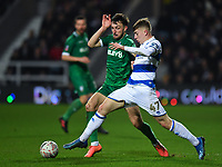 Football - 2019 / 2020 Emirates FA Cup - Fourth Round: Queens Park Rangers vs. Sheffield Wednesday<br /> <br /> Queens Park Rangers' Jack Clarke holds off the challenge from Sheffield Wednesday's Morgan Fox, at Kiyan Prince Foundation Stadium (Loftus Road).<br /> <br /> COLORSPORT/ASHLEY WESTERN