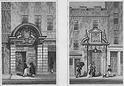 Barber Surgeon's Hall, Monkwell Street, Fishmonger's Hall, Thames Street, engraving 'Metropolitan Improvements, or London in the Nineteenth Century' London, England, UK 1828 , drawn by Thomas H Shepherd