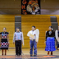 050715       Cable Hoover<br /> <br /> Navajo Middle School students perform a singing skit together during the Navajo Language and Culture Fest Thursday at Gallup High School.