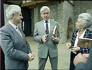10/09/1988<br /> 09/10/1988<br /> 10 September 1988<br /> ROSC 1988 Exhibition at the Guinness Hop Store. <br /> Sir Norman Macfarlane, (centre) Chairman of Guinness plc. chatting with Mr Pat Murphy, (left) Chairman of ROSC and Lady Gretta Macfarlane during their visit to ROSC '88.