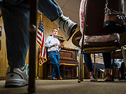 05 MAY 2019 - MADRID, IOWA:  US Senator MICHAEL BENNET (D-CO), talks to a group of Boone County Democrats during a campaign stop in Madrid, IA., about 45 minutes north of Des Moines. Sen. Bennet is running for the Democratic nomination for the US Presidency in the 2020 election, he declared his candidacy last week and joins a crowded field of over 20 candidates. Iowa traditionally hosts the the first election event of the presidential election cycle. The Iowa Caucuses will be on Feb. 3, 2020.          PHOTO BY JACK KURTZ