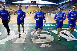 Players of Celje PL prior to the handball match between RK Celje Pivovarna Lasko and RK Gorenje Velenje in 5th Round of 1. NLB Leasing Handball League 2012/13 on October 3, 2012 in Arena Zlatorog, Celje, Slovenia. (Photo By Vid Ponikvar / Sportida)