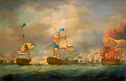 The Battle of Camperdown (known in Dutch as the Zeeslag bij Kamperduin) was a major naval action fought on 11 October 1797, between the British North Sea Fleet under Admiral Adam Duncan and a Batavian Navy (Dutch) fleet under Vice-Admiral Jan de Winter. The battle was the most significant action between British and Dutch forces during the French Revolutionary Wars and resulted in a complete victory for the British. By Thomas Whitcombe (possibly 19 May 1763 – c. 1824) was a prominent British maritime painter of the Napoleonic Wars. Among his work are over 150 actions of the Royal Navy, and he exhibited at the Royal Academy, the British Institution and the Royal Society of British Artists. His pictures are highly sought after today.