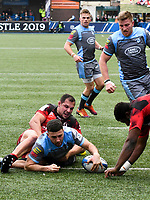 Rugby Union - 2018 / 2019 European Rugby Champions Cup - Pool Three: Cardiff Blues vs. Lyon<br /> <br /> Aled Summerhill; of Cardiff Blues: scores a try , at Cardiff Arms Park.<br /> <br /> COLORSPORT/WINSTON BYNORTH