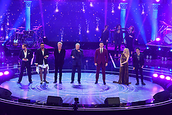 (left to right) Alfie Boe, Shaggy, Sting, Sir Tom Jones, Kylie Minogue and Jamie Callum perform at the Royal Albert Hall in London during a star-studded concert to celebrate the Queen's 92nd birthday.