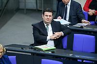 08 DEC 2020, BERLIN/GERMANY:<br /> Hubertus Heil, SPD, Bundesarbeitsminister, Haushaltsdebatte, Plenum, Reichstagsgebaeude, Deuscher Bundestag<br /> IMAGE: 20201208-02-016